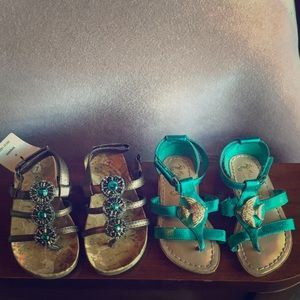 Bundle of 2 pair of toddler girl's sandals so cute